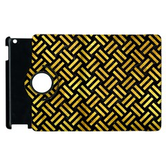 Woven2 Black Marble & Gold Paint (r) Apple Ipad 3/4 Flip 360 Case by trendistuff