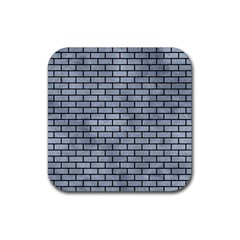 Brick1 Black Marble & Silver Paint Rubber Square Coaster (4 Pack)  by trendistuff