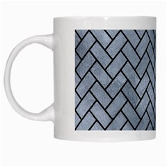 Brick2 Black Marble & Silver Paint White Mugs by trendistuff