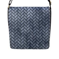 Brick2 Black Marble & Silver Paint Flap Messenger Bag (l)  by trendistuff