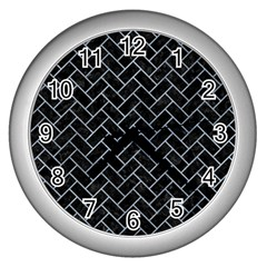 Brick2 Black Marble & Silver Paint (r) Wall Clocks (silver)  by trendistuff