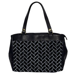 Brick2 Black Marble & Silver Paint (r) Office Handbags (2 Sides)  by trendistuff