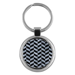 Chevron1 Black Marble & Silver Paint Key Chains (round)  by trendistuff