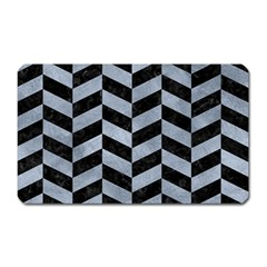 Chevron1 Black Marble & Silver Paint Magnet (rectangular) by trendistuff