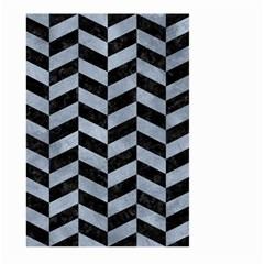 Chevron1 Black Marble & Silver Paint Large Garden Flag (two Sides) by trendistuff