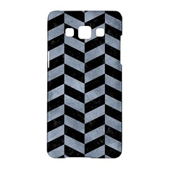 Chevron1 Black Marble & Silver Paint Samsung Galaxy A5 Hardshell Case  by trendistuff