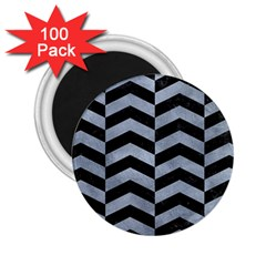 Chevron2 Black Marble & Silver Paint 2 25  Magnets (100 Pack)  by trendistuff