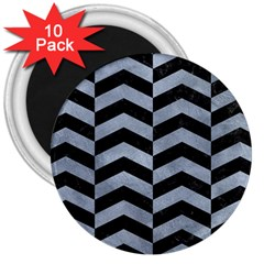 Chevron2 Black Marble & Silver Paint 3  Magnets (10 Pack)  by trendistuff