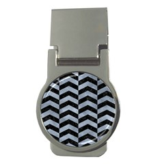 Chevron2 Black Marble & Silver Paint Money Clips (round)  by trendistuff