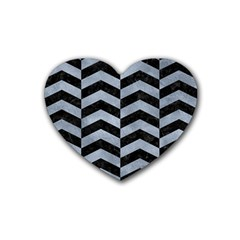 Chevron2 Black Marble & Silver Paint Rubber Coaster (heart)  by trendistuff