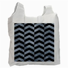 Chevron2 Black Marble & Silver Paint Recycle Bag (two Side)  by trendistuff