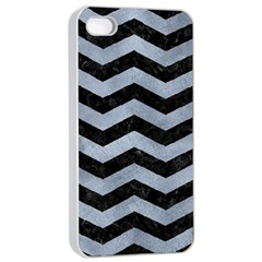 Chevron3 Black Marble & Silver Paint Apple Iphone 4/4s Seamless Case (white) by trendistuff