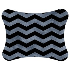 Chevron3 Black Marble & Silver Paint Jigsaw Puzzle Photo Stand (bow) by trendistuff