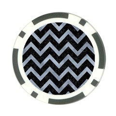 Chevron9 Black Marble & Silver Paint (r) Poker Chip Card Guard by trendistuff