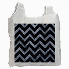 Chevron9 Black Marble & Silver Paint (r) Recycle Bag (two Side)  by trendistuff