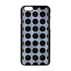 Circles1 Black Marble & Silver Paint Apple Iphone 6/6s Black Enamel Case by trendistuff