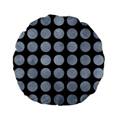 Circles1 Black Marble & Silver Paint (r) Standard 15  Premium Round Cushions by trendistuff