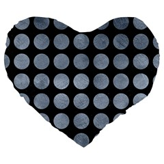 Circles1 Black Marble & Silver Paint (r) Large 19  Premium Heart Shape Cushions by trendistuff
