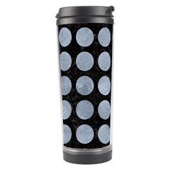 Circles1 Black Marble & Silver Paint (r) Travel Tumbler