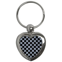 Circles2 Black Marble & Silver Paint Key Chains (heart)  by trendistuff