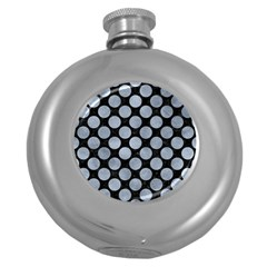 Circles2 Black Marble & Silver Paint (r) Round Hip Flask (5 Oz) by trendistuff
