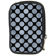 Circles2 Black Marble & Silver Paint (r) Compact Camera Cases by trendistuff