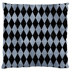 Diamond1 Black Marble & Silver Paint Large Cushion Case (two Sides) by trendistuff