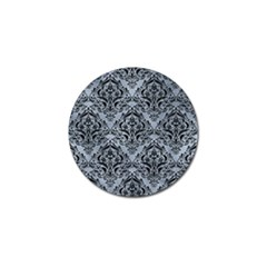 Damask1 Black Marble & Silver Paint Golf Ball Marker by trendistuff