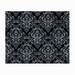 Damask1 Black Marble & Silver Paint (r) Small Glasses Cloth (2 Side) by trendistuff