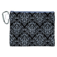 Damask1 Black Marble & Silver Paint (r) Canvas Cosmetic Bag (xxl) by trendistuff