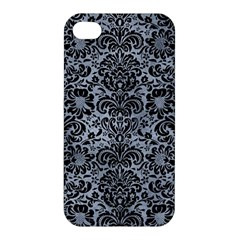 Damask2 Black Marble & Silver Paint Apple Iphone 4/4s Hardshell Case by trendistuff