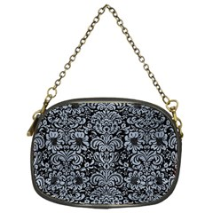 Damask2 Black Marble & Silver Paint (r) Chain Purses (one Side)  by trendistuff