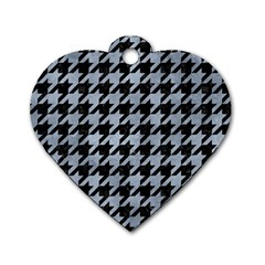 Houndstooth1 Black Marble & Silver Paint Dog Tag Heart (one Side)