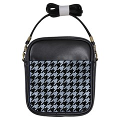 Houndstooth1 Black Marble & Silver Paint Girls Sling Bags by trendistuff