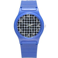 Houndstooth1 Black Marble & Silver Paint Round Plastic Sport Watch (s) by trendistuff