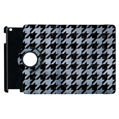 Houndstooth1 Black Marble & Silver Paint Apple Ipad 2 Flip 360 Case