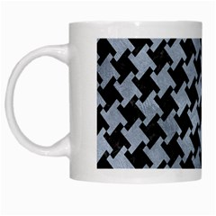 Houndstooth2 Black Marble & Silver Paint White Mugs by trendistuff