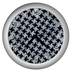 Houndstooth2 Black Marble & Silver Paint Wall Clocks (silver)  by trendistuff