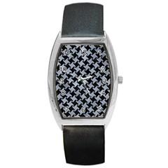 Houndstooth2 Black Marble & Silver Paint Barrel Style Metal Watch by trendistuff