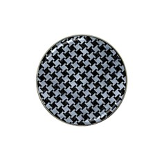Houndstooth2 Black Marble & Silver Paint Hat Clip Ball Marker (4 Pack) by trendistuff