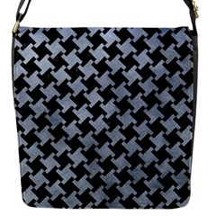 Houndstooth2 Black Marble & Silver Paint Flap Messenger Bag (s) by trendistuff