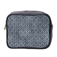 Hexagon1 Black Marble & Silver Paint Mini Toiletries Bag 2 Side by trendistuff
