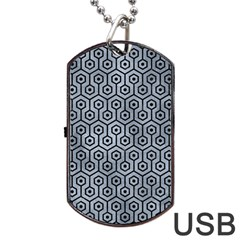 Hexagon1 Black Marble & Silver Paint Dog Tag Usb Flash (one Side) by trendistuff