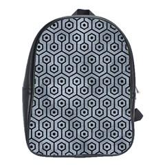 Hexagon1 Black Marble & Silver Paint School Bag (xl) by trendistuff