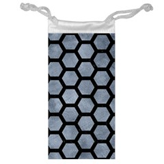 Hexagon2 Black Marble & Silver Paint Jewelry Bag by trendistuff