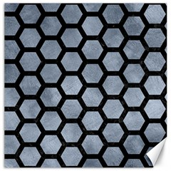 Hexagon2 Black Marble & Silver Paint Canvas 12  X 12   by trendistuff