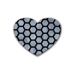 Hexagon2 Black Marble & Silver Paint Heart Coaster (4 Pack)  by trendistuff