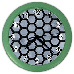 Hexagon2 Black Marble & Silver Paint Color Wall Clocks