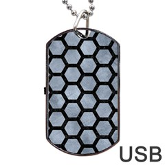 Hexagon2 Black Marble & Silver Paint Dog Tag Usb Flash (two Sides) by trendistuff