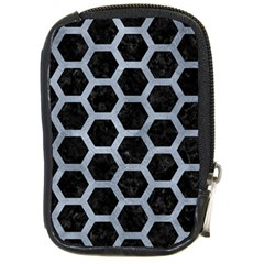 Hexagon2 Black Marble & Silver Paint (r) Compact Camera Cases by trendistuff